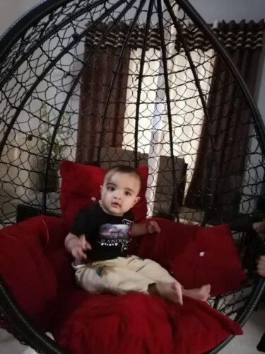 Hanging Swing Chair Adult jhoola- Egg shape Rattan Patio Swing Jhula - Rocking Wicker hammock - Black photo review